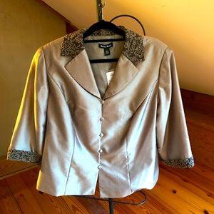 Dana Kay Champagne Collared Jacket, NWT, 18W